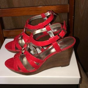 Red Wedge Sandals